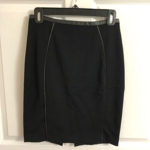 H&M Black High Waisted Skirt with Leather Trim